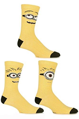SockShop Men's 3 Pair Despicable Me Minions Faces Cotton Socks 7-12 Yellow