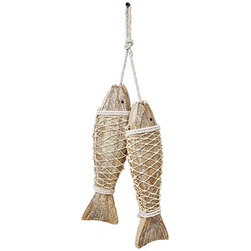 D-Fokes Hanging Vintage Wooden Fish Wall Art Decor Handcrafts Mediterranean Style Home Decor Nautical Theme Wall…