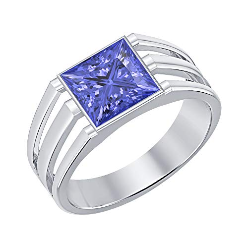 tusakha 14K White Gold Over 925 Sterling Silver Solitaire Princess Cut Tanzanite Men's Wedding Band Engagement Ring
