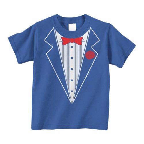 Threadrock Little Boys' Tuxedo Toddler T-Shirt 4T Royal Blue (Toddler Blue Tuxedo)