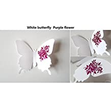 Amaonm® 24 PCS Removable 3D White Butterfly wall Decals & Purple Flowers Wall Stickers Murals Home Art Decor for Girls Room Bedroom kids Bathroom TV Background Study Room Wall Decorations