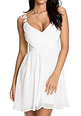Ashlen Women's White V-Neck Sleeveless Summer Evening Wedding Dress