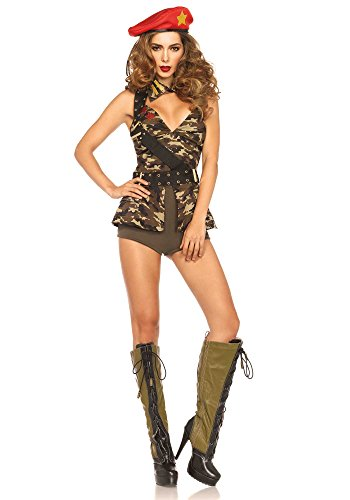 Leg Avenue Women's 4 Piece Red Beret Babe Soldier Costume, Camo, Small
