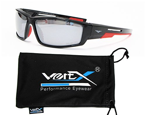 Sunglasses Affordable Revo (VertX Men's Polarized Sunglasses Sport Running Outdoor w/ Free Microfiber Pouch – Black and Red Frame – Mirror Lens)