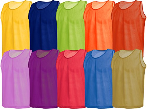 American Challenge Soccer Sports Scrimmage Vest Jersey (Neon Green, 10 Pack Adult)