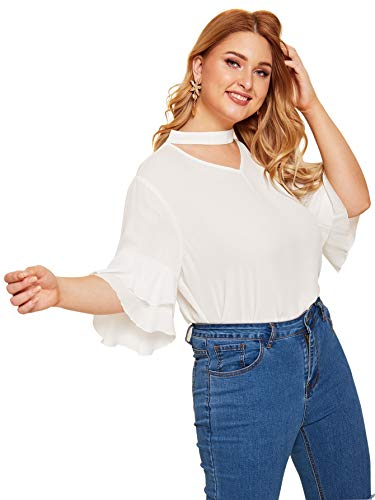 Romwe Women's Plus Size Choker Neck Ruffle Sleeve Blouse Top White 3XL