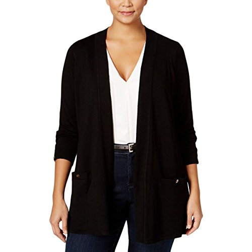 Angora Cardigan (Charter Club Womens Plus Open Front Long Sleeves Cardigan Sweater Black 1X)