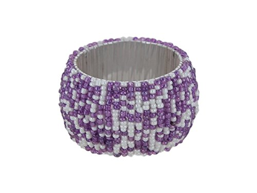 ShalinIndia Handmade Beaded Napkin Rings Set with 12 Purple White Glass Beaded Napkin Holders - 1.5 Inch in Size - Artisan Crafted in India