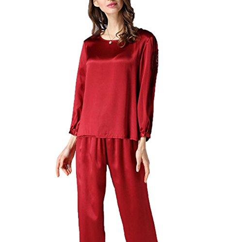 Ms Spring 2017 Pijamas De Seda De Dos Piezas-de Manga Larga Red