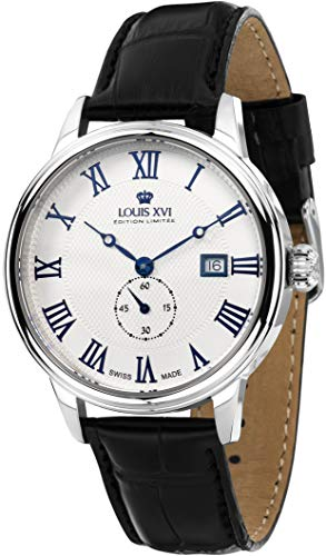 - Louis XVI Men's-Watch Louis Charles l'argent Blanc eloxé bleu Swiss Made Analog Quartz Leather Black 461