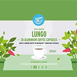 Marca Amazon – Happy Belly Lungo Café UTZ molido de tueste natural en cápsulas de aluminio compatibles con Nespresso…