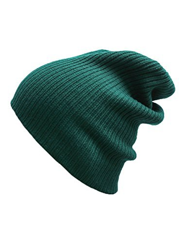 EVRFELAN Slouchy Beanie Casual Knitted Winter Hat Cuffed Plain Warm Cap Pure Color Simple Skull Cap for Women Men(Green)
