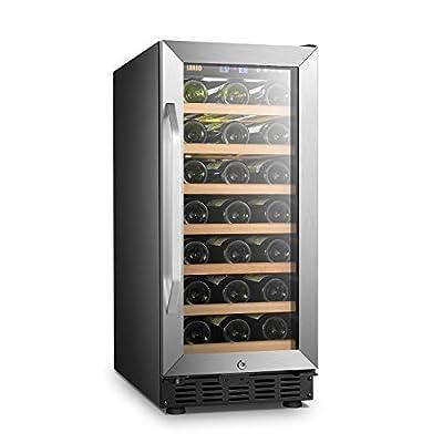 Lanbo Compact Wine Refrigerator, 33 Bottles Built-in Under Counter Compressor Wine Cooler
