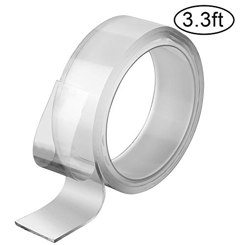 (AIEX Washable Adhesive Tape 1M/3.3Ft Roll, Clear Double-Sided Removable Tape, Traceless Anti-Slip Sticky Strips for Multiple Use (Transparent, 2mm))