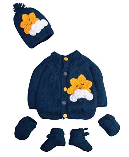 Hand Made 3 Piece Knitted Warm Cozy Baby Crochet Set- Newborn Toddler Wool Sweater Set Includes- Booties & Hat (0-6 Month, Navy Blue) - Hat Knit Sweater