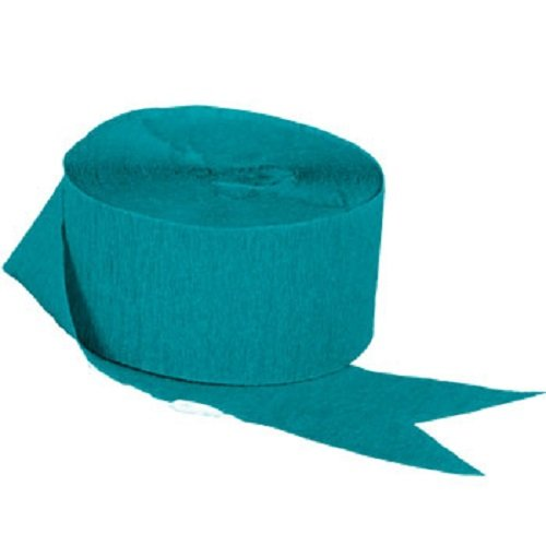 TEAL Crepe Paper Streamers, 2 ROLLS, 145 FT TOTAL, MADE IN ()