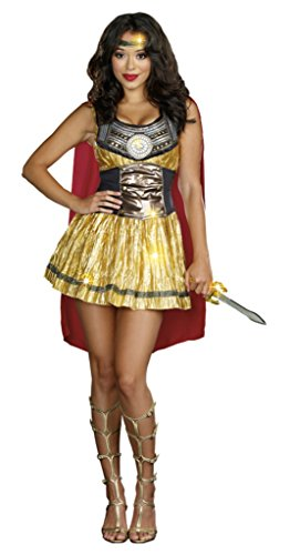 Mask Gladiator Movie (Dreamgirl Womens Historic Golden Gladiator Queen Roman Style Halloween Costume, M)