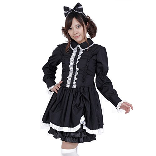 [Patymo Lolita Maid Dress Costume Black XS/Small -- Japanese Anime Cosplay] (Japanese Maid Cafe Costume)