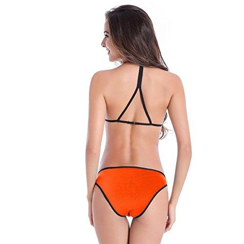 UDreamTime Low Rise empuje de las Femenino hasta la tapa del halter del traje de baño del bikini Set Naranja