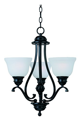 a 3-Light Chandelier Single-Tier Chandelier, Black Finish, Ice Glass, MB Incandescent Incandescent Bulb , 60W Max., Dry Safety Rating, Standard Dimmable, Metal Shade Material, Rated Lumens (Maxim Iron Chandelier)