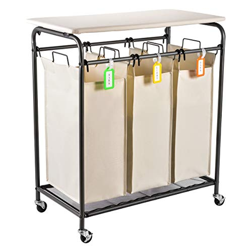 Sunix Rolling Laundry Sorter, 3 Heavy-Duty Bag Laundry Cart with Folding Ironing Board,Beige
