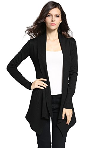 Sofishie Classic Ribbed Draped Open-Front Cardigan - Black - - Cardigan Sweater Cable Open
