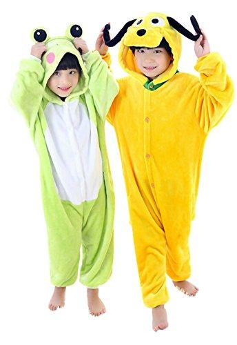 "Tjia Winter Kid Cosplay Flannel Frog Animal Pajamas (M 49""- 53""), dog)"