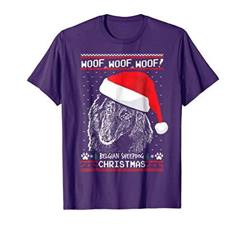 Mens Woof Belgian Sheepdog Christmas Shirt Funny Xmas Gift 3XL Purple