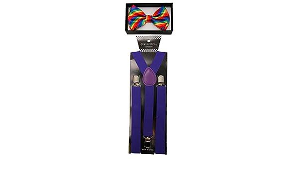 Brand New Unisex Adult Fashion Rainbow Suspenders Bow Tie Combo Red + Rainbow