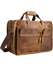 """Polare 17"""" Full Grain Leather Briefcase Messenger Laptop Bag Tote for Men with Premium YKK Zippers"""