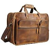Polare Men's 17'' Full Grain Leather Messenger Bag for Laptop Briefcase Tote