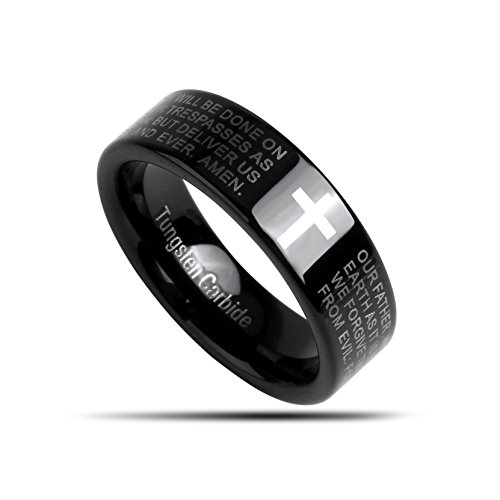 J.Rosée Tungsten Ring Mens Wedding Engagement Band 7 MM Black Laser Printed Bible Partern and Words (tungsten 3, 11)