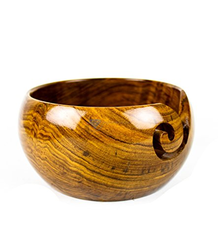 Premium Rosewood Crafted Wooden Portable Yarn Bowl | Knitting Bowls