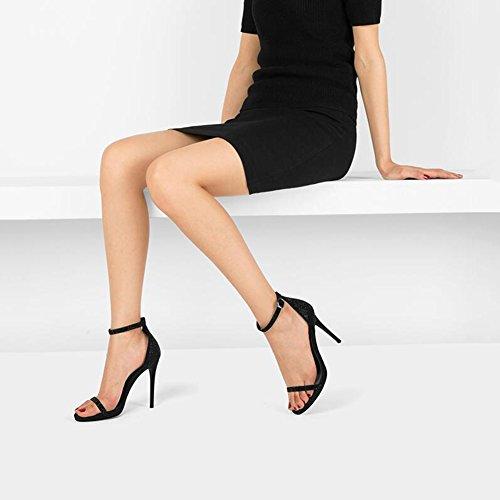 DALL Escarpins Mince Talons Saison D'été Chaussures pour Femmes Noir Talons Hauts Pantoufles Sandales Bouche Peu Profonde 10,7 Cm De Haut (Taille : EU 35/UK 3.5/CN 35)