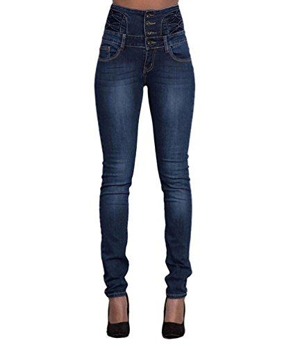 Vaqueros Pantalones Mujer Pantalones Azul Lápiz Oscuro Alta Cintura Denim Dooxi Skinny Tejanos Casual Moda Delgado xAqwvvZdY
