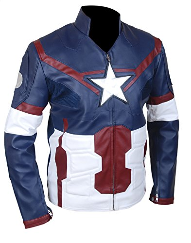 "Leatherly Veste Homme Avengers ""Age Of Ultron"" Captain America ""CHRIS EVAN'S"" Authentique Cuir Veste"