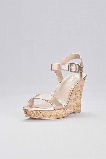 0334c15638c David s Bridal Metallic Cork Wedge Sandals with Chunky Buckle Style Lindie