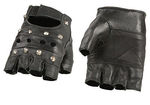Black Studded Gloves (Ted and Jack - Studded Toughness Weight Lifting & Workout Fingerless Leather Glove in Large)