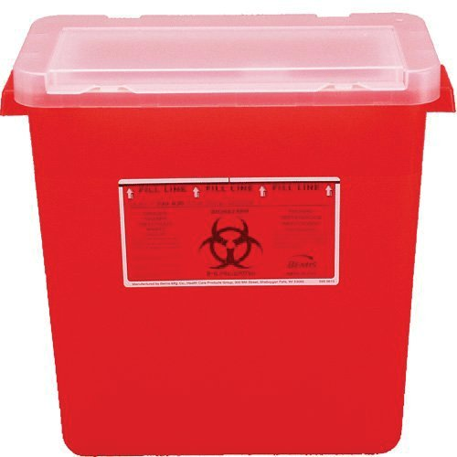 (Kendall Healthcare 8980 Monoject Sharps Container 8gal, Shape, Red)