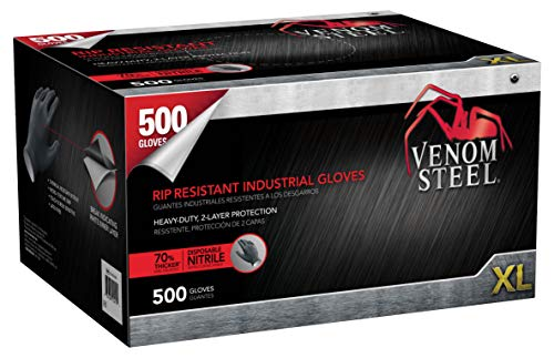 Venom Steel Nitrile Gloves, Rip Resistant Disposable Latex Free Black Gloves, 2 Layer Gloves, 6 mil Thick, X-Large (Pack of ()
