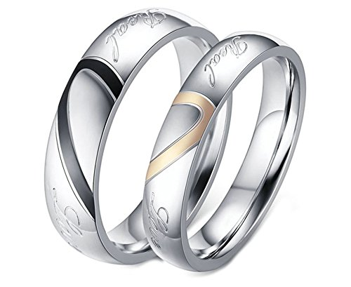 Aooaz 2 Pcs Engagement Rings Stainless Steel Rings For Couples Silver Love Heart Puzzle Rings With Your Laser Engraving Free Womens 7 & Mens 8 Novelty Jewelry Gift ()