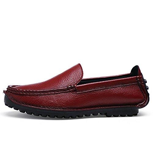 Mocasín Rojo Zapatos de de Hombres para Plano de Respirable conducción Cuero Negocios rPPAUaWqY