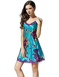 77e5110b0c Women s Pure Silk Sexy Suspender Skirt Summer Printing Nightgown Home Dress  Sleepwear