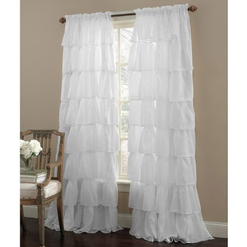 Lorraine Home Fashions Gypsy Ruffled Window Curtain Panel, 60 W x 96 L, White