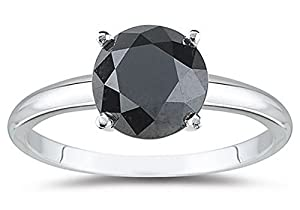 2 Carat 14K White Gold Round Black Diamond Solitaire Ring (AAA Quality)