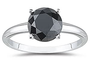 3 Carat 14K White Gold Round Black Diamond Solitaire Ring (AAA Quality)