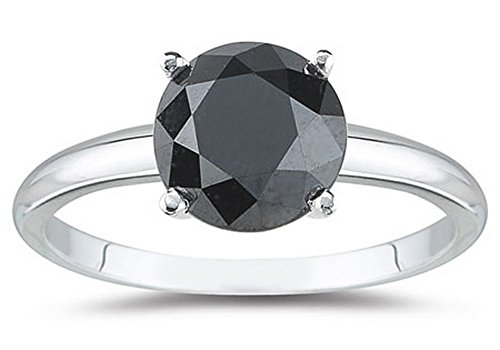 - 1 1/2 1.5 Carat 14K White Gold Round Black Diamond Solitaire Ring (AAA Quality)