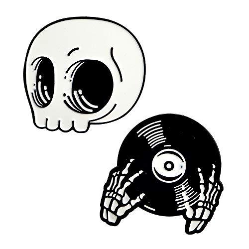 MP58 New Cute Black Music Skull Big Button Brooches Pins in Velvet Bag 2pcs/Set