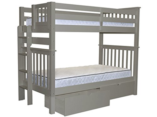 Bedz King Tall Mission Style Bunk Bed Twin over Twin with End Ladder and 2 Under Bed Drawers, Gray