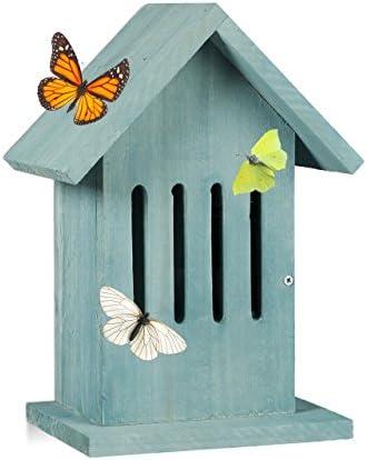 Relaxdays Caja para Mariposas, Turquesa, 12x18.5x25.5 cm ...